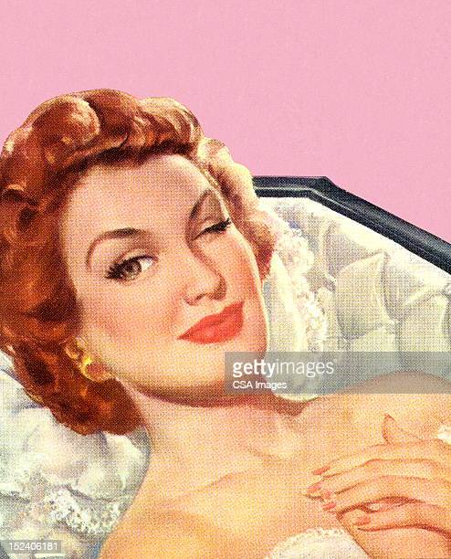 winking woman in coffin - one mid adult woman only stock illustrations