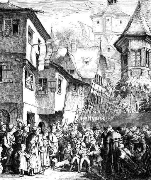 winning homecoming of swiss soldiers - 1877 stock illustrations, clip art, cartoons, & icons