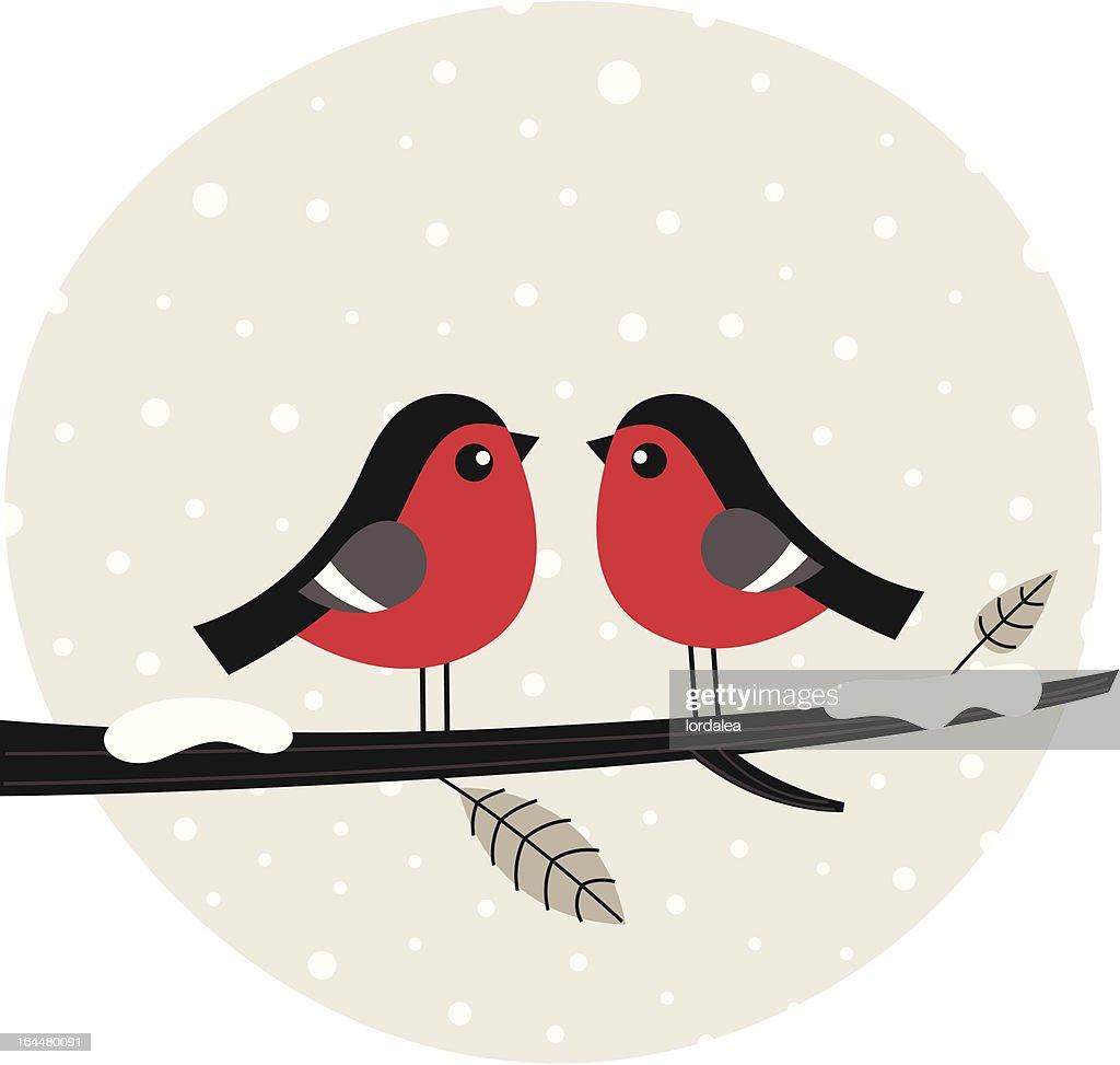 Winter birds sitting on the branch