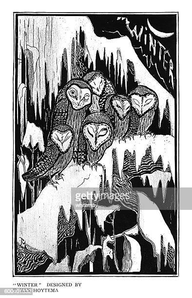 """ilustraciones, imágenes clip art, dibujos animados e iconos de stock de """"winter"""" by theo van hoytema - eyes closed"""