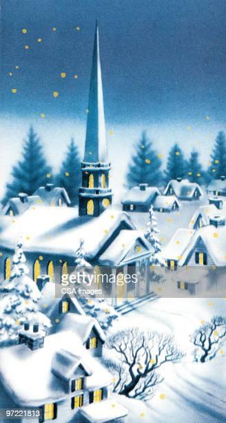 winter church at night - steeple stock illustrations, clip art, cartoons, & icons