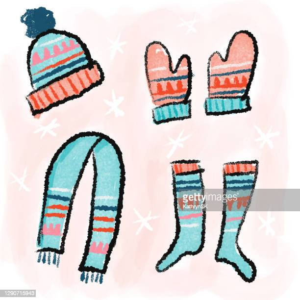 winter clothing drawing on pink background - kathrynsk stock illustrations