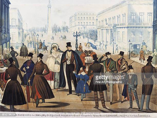 winter fashion plate, queen victoria and entourage in regent - large group of people stock illustrations