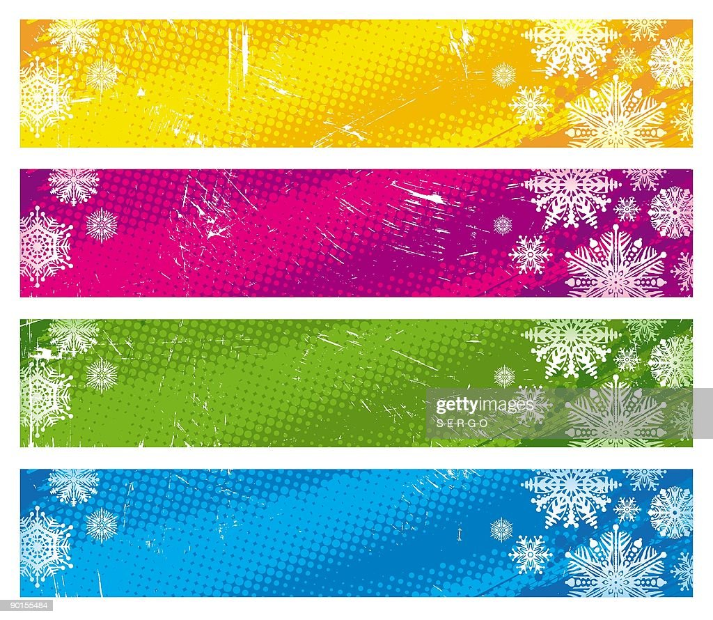 Winter Holiday Banners Purple Floral Banners