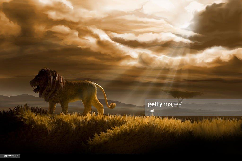 winter in lion's pride : stock illustration