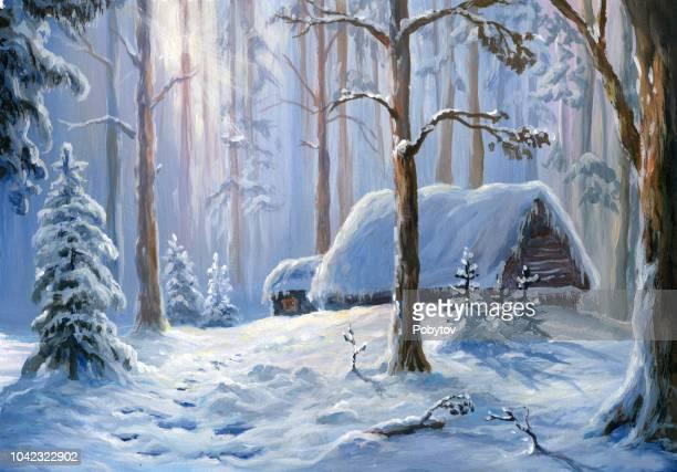 winter landscape, oil painting