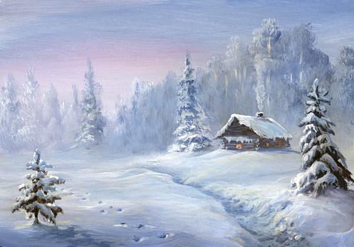 winter landscape, oil painting - gettyimageskorea