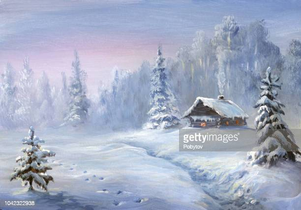 winter landscape, oil painting - horizontal stock illustrations