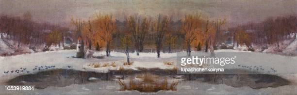 winter landscape with birds and river. - humidity stock illustrations, clip art, cartoons, & icons