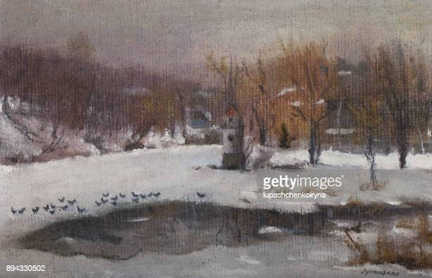 winter landscape with birds and river. - classical style stock illustrations, clip art, cartoons, & icons