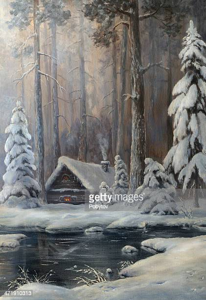 Winter morning in a pine forest
