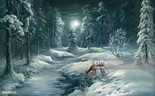 winter night in forest, oil painting - deer stock illustrations