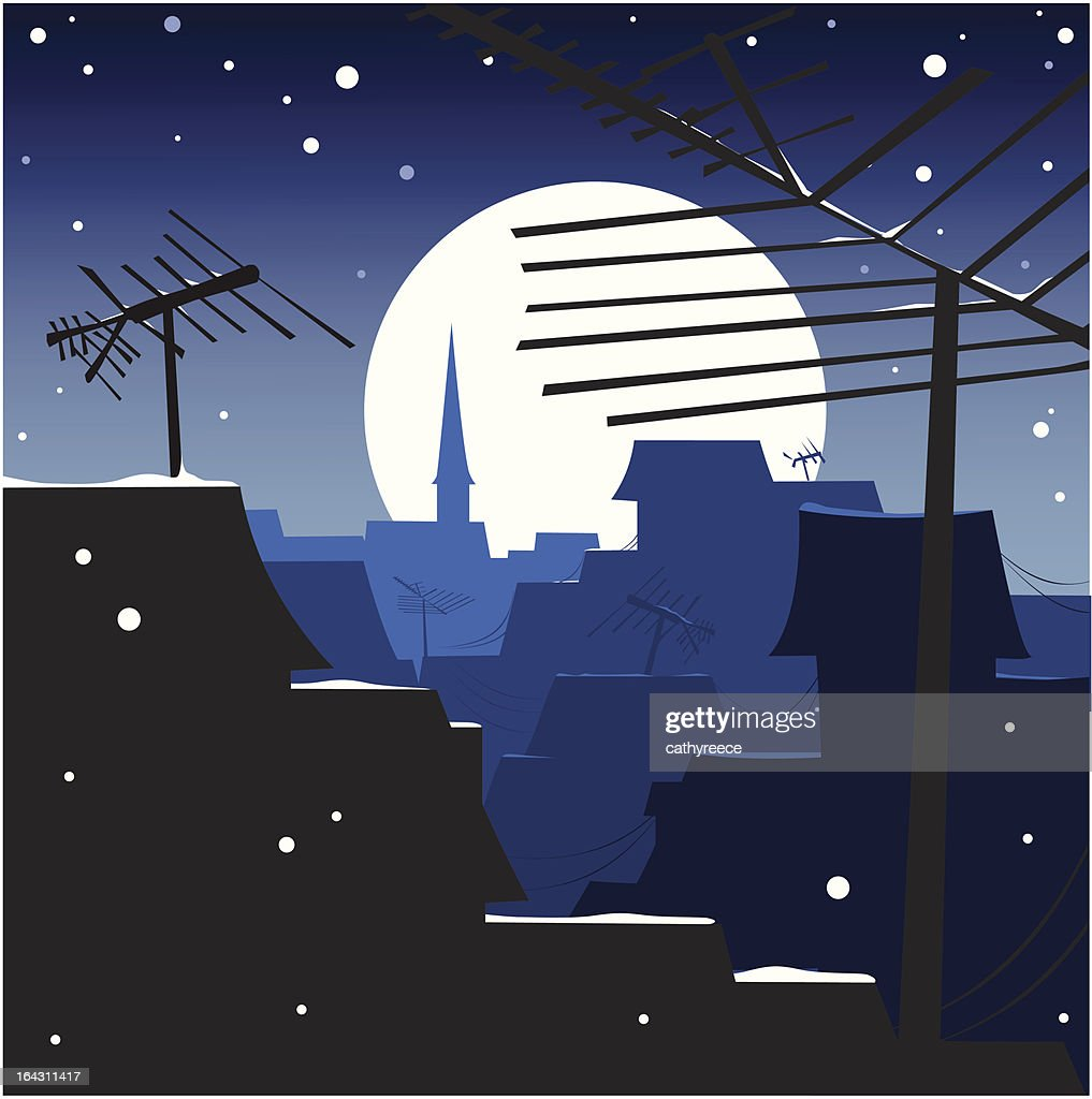 winter night moonlit rooftops with antennas