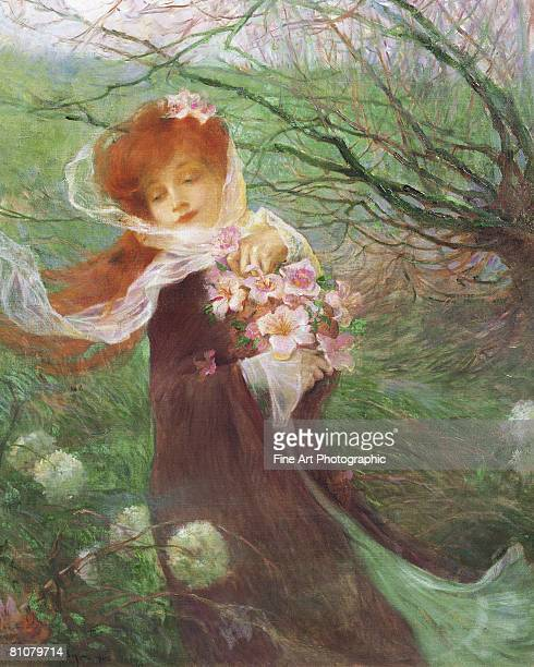 winter perfume - one young woman only stock illustrations