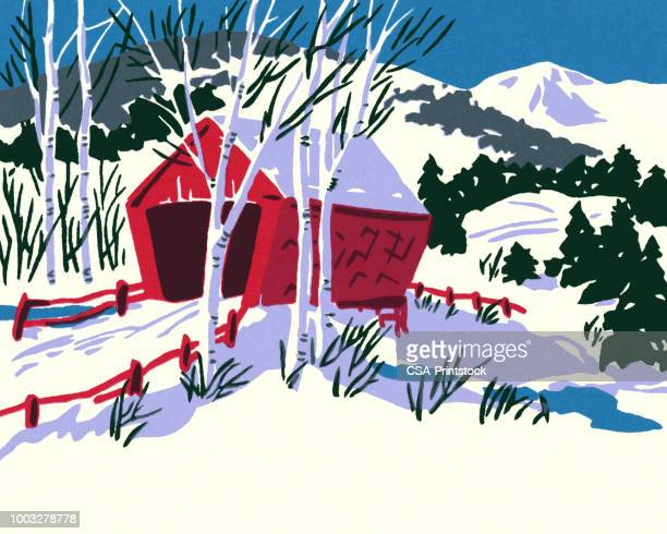 winter scene of a covered bridge - covered bridge stock illustrations