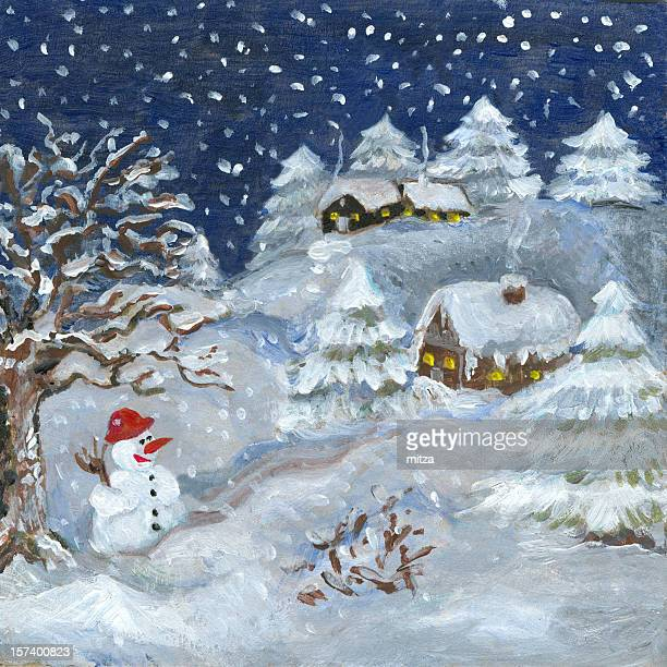 Winter Silent Night with Snowman