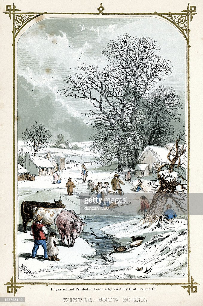 Winter Snow Scene : Stock Illustration