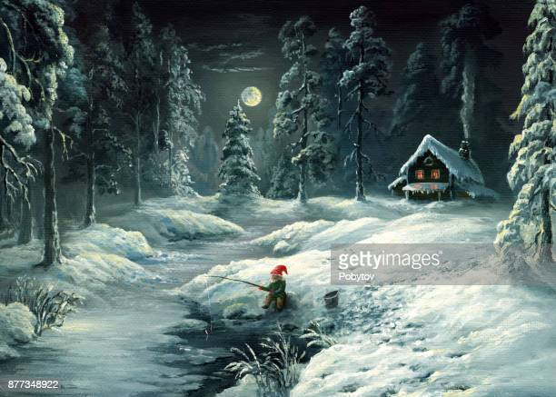 winter tale, oil painting in retro style - ethereal stock illustrations, clip art, cartoons, & icons