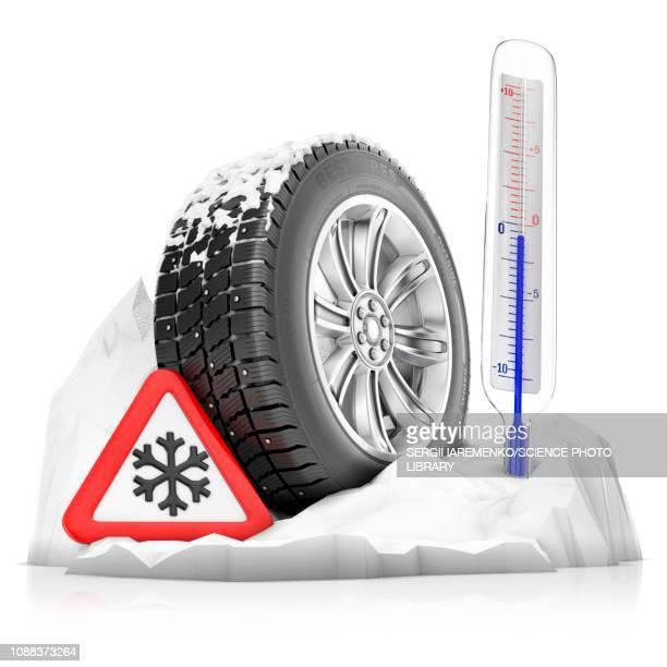winter tyre, illustration - instrument of measurement stock illustrations