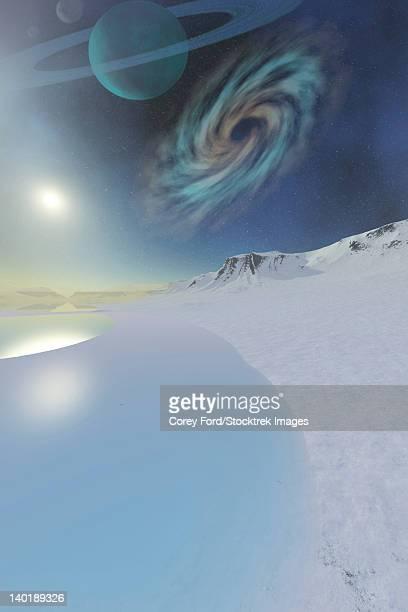 ilustraciones, imágenes clip art, dibujos animados e iconos de stock de wintery seascape of an ice world. - galaxiaespiral