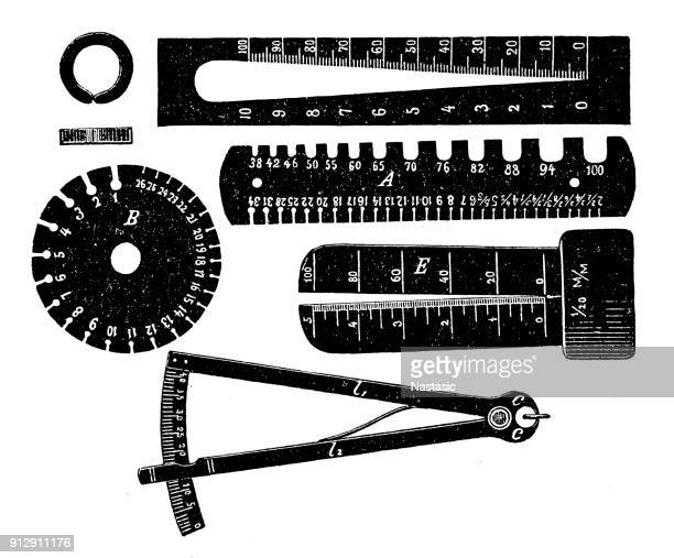 wire measuring tools - ruler stock illustrations