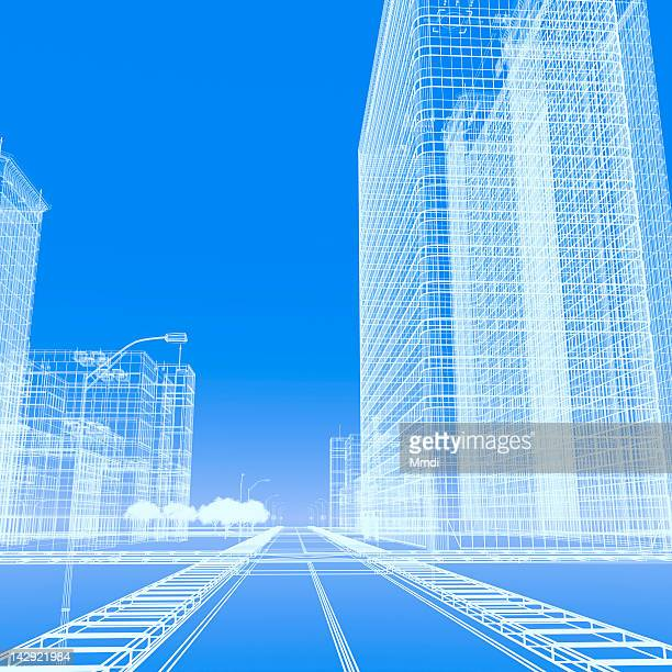 wireframe buildings - road stock illustrations