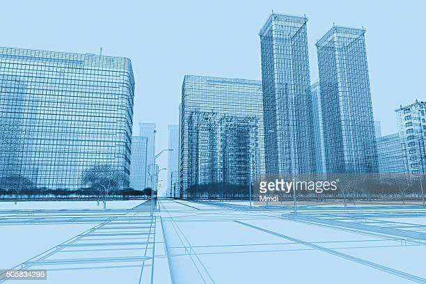 wireframe buildings plan - translucent stock illustrations