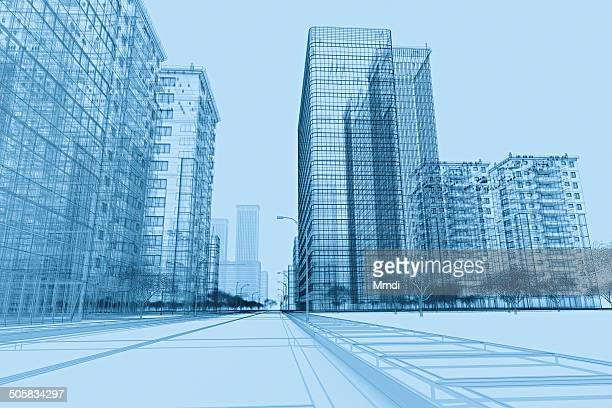 wireframe buildings plan - road stock illustrations