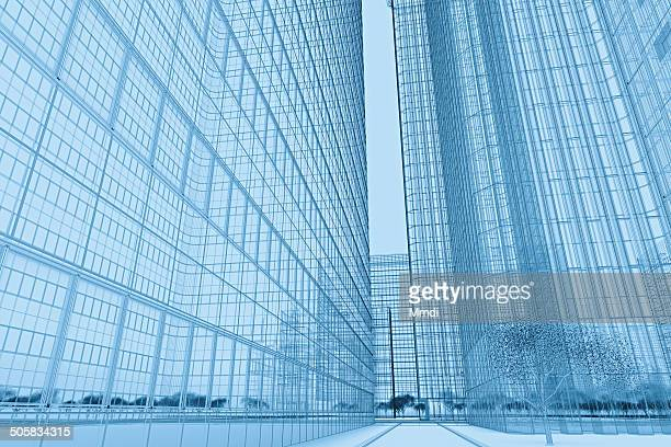 wireframe buildings plan - low angle view stock illustrations