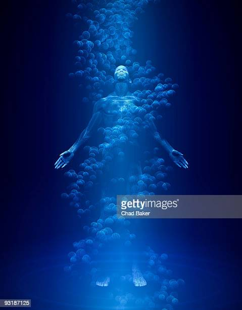 Wireframe of a man surrounded by DNA and light