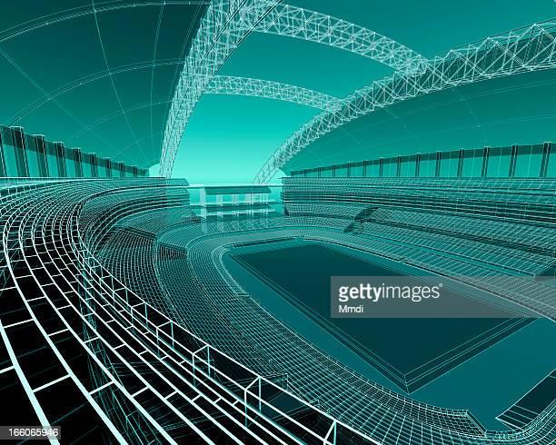 ilustraciones, imágenes clip art, dibujos animados e iconos de stock de wireframe sports stadium - gradas