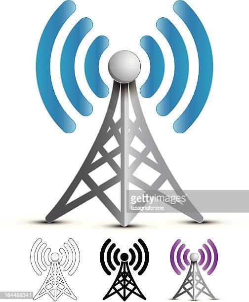 ilustraciones, imágenes clip art, dibujos animados e iconos de stock de transmisión inalámbrico - torres de telecomunicaciones