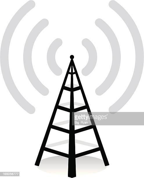 ilustraciones, imágenes clip art, dibujos animados e iconos de stock de acceso inalámbrico - torres de telecomunicaciones
