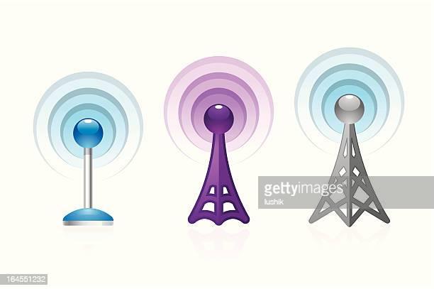 ワイヤレスタワーオブジェクト - アンテナ点のイラスト素材/クリップアート素材/マンガ素材/アイコン素材