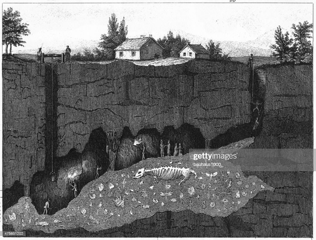 Wirksworth Cave Cross Section Engraving : stock illustration