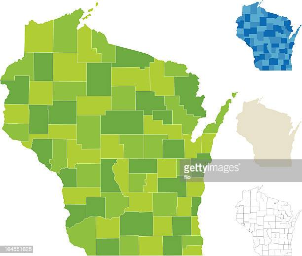 wisconsin county map - wisconsin stock illustrations
