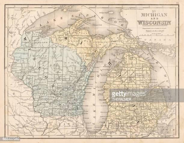 Wisconsin MIchigan map 1867