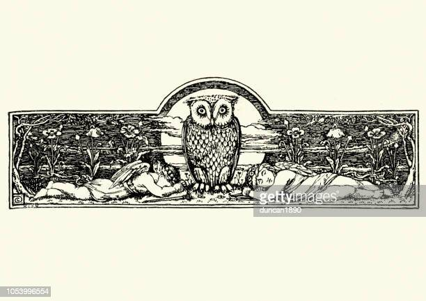 wise owl watching over sleeping angels - owl stock illustrations