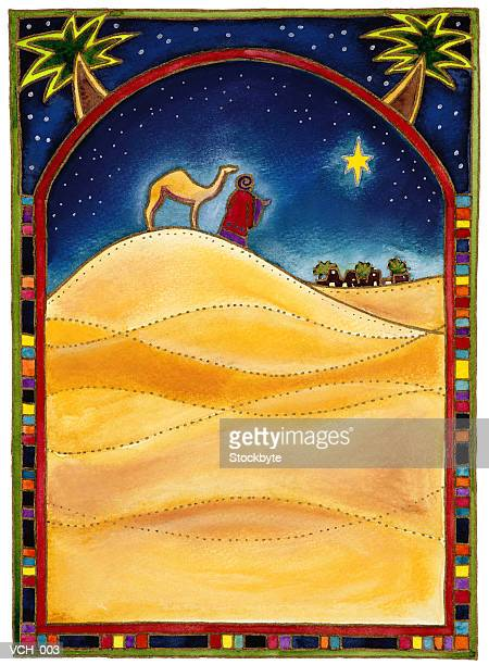Wiseman With a Camel Looking at the Star of Bethlehem.