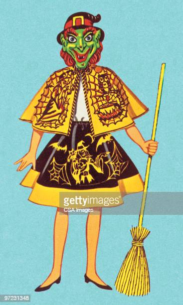 witch costume - broom stock illustrations, clip art, cartoons, & icons