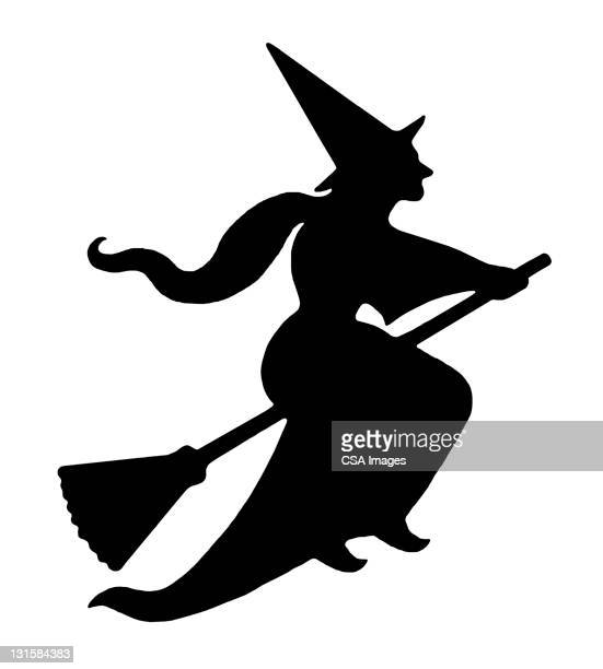 witch flying on broom - broom stock illustrations, clip art, cartoons, & icons