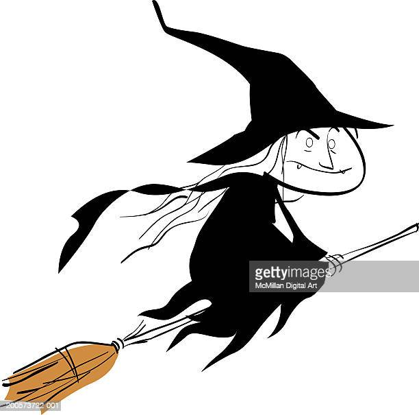 Witch flying on broom, side view