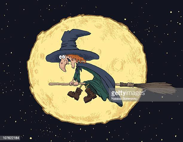 witch on a broom - broom stock illustrations, clip art, cartoons, & icons