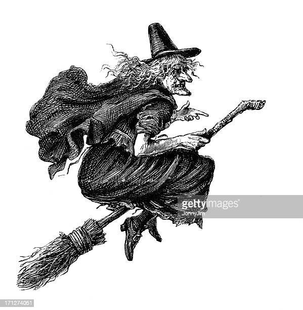 witch on a broomstick from 1883 journal - broom stock illustrations, clip art, cartoons, & icons