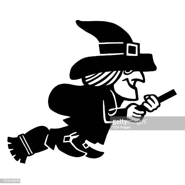 witch on broom - broom stock illustrations, clip art, cartoons, & icons