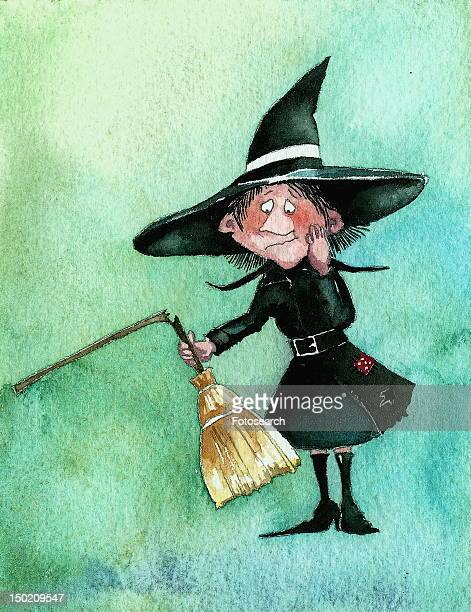 witch with a broken broom - black studio点のイラスト素材/クリップアート素材/マンガ素材/アイコン素材