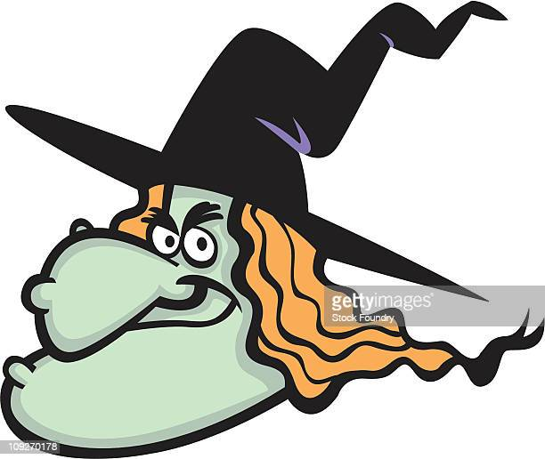 a witchs face - cartoon characters with big noses stock illustrations, clip art, cartoons, & icons