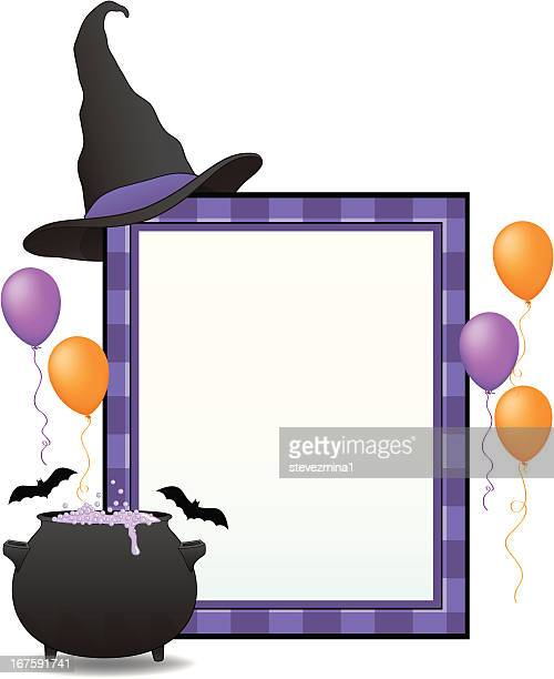 witch's halloween sign - cauldron stock illustrations, clip art, cartoons, & icons