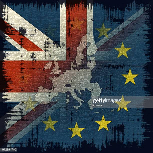 uk with eu flag and map - brexit stock illustrations, clip art, cartoons, & icons