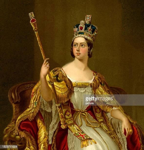 stockillustraties, clipart, cartoons en iconen met queen victoria in her coronation in 1837   -xxxl with lots of details- - koningin koninklijk persoon